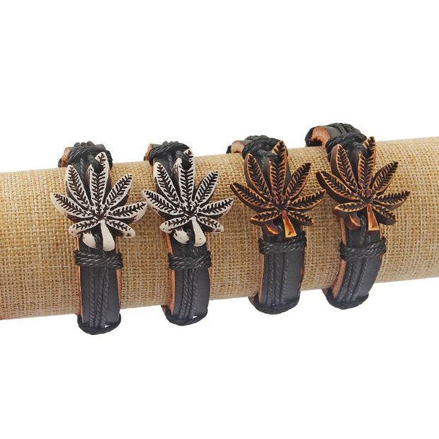 6pcs Handmade White/Brown Tribal Weed Leaf Charm Pendant Bangle Black Genuine Leather Bracelet 7inch Adjustable