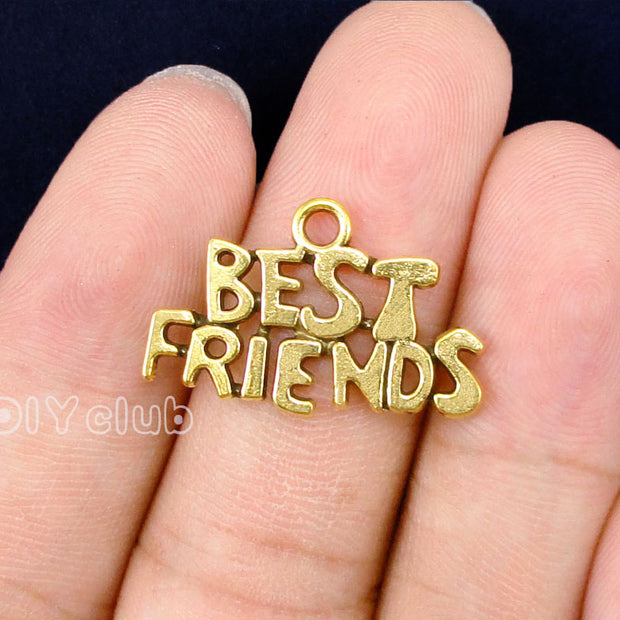 70pcs-Antique Gold Best Friends Charms 24x15mm