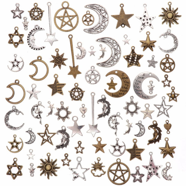 73Pcs/Set Mixed Silver Antique Bronze Handmade Charms Moon Star Sun Charm Pendants For DIY Jewelry Making Accessories #263741