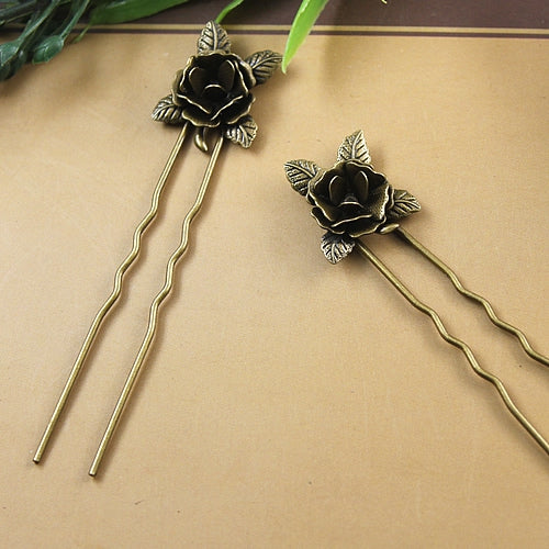 75*1.2MM 3D U Shape Flower Hair Stick Needle Silver Tibetan Fork Hair Stick Pin Rose Gold Hairstick Bronze Vintage Diy Jewelry