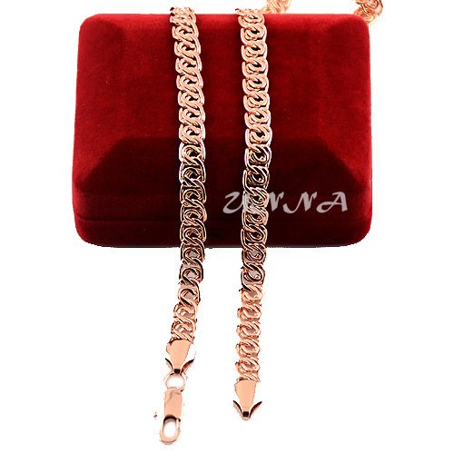 7mm 20inch 24inch 28inch Long Men's Women Rose Gold Color Filled Necklace Link Chains Custom Size