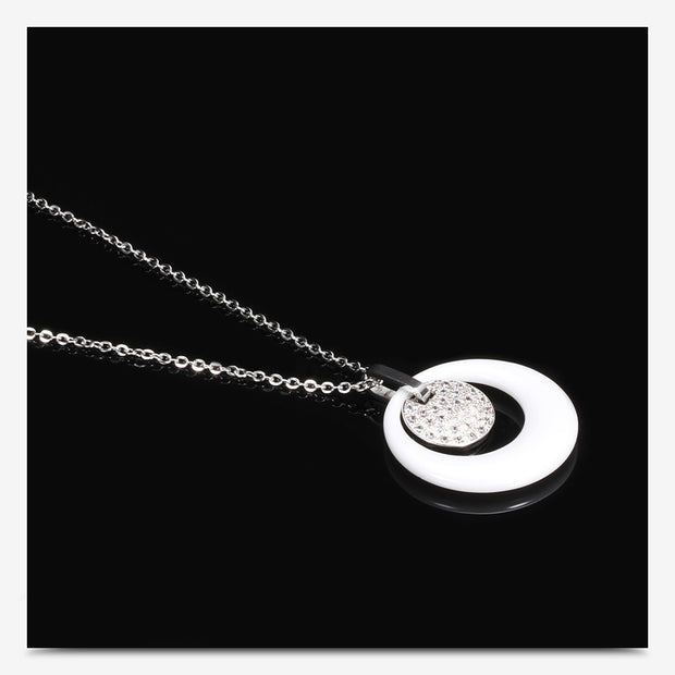 8 Words Infinity Ceramics 316L Stainless Steel Pendant Necklaces Bead Chain For Women Wholesale