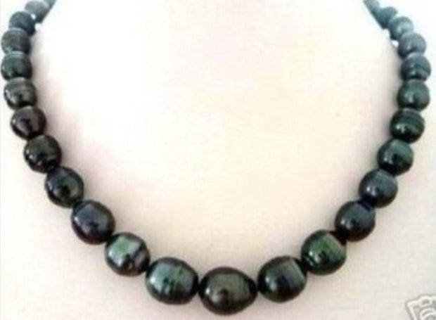 "! 8X9MM BLACK RICE Seawater Cultured PEARL NECKLACE 18"" JT6791"