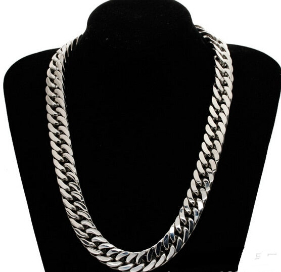 8mm 10mm Silver Tone Stainless Steel High Quality Double Curb Link Ch Velvet Box