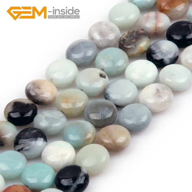 8mm-20mm Coin Shape Amazonite Stone Beads Natural Stone Beads Loose Bead For Jewelry Making Beads Strand 15 Inches Wholesale !