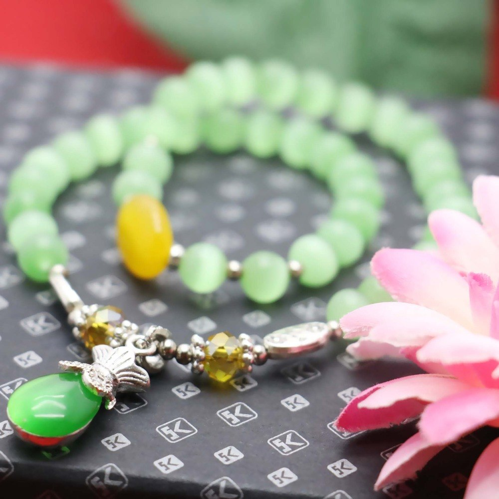 PS3612 Rosary Style Beaded Chain Cats Eye Chain By The Foot 925 Silver Chain 7-8mm Green Cats Eye Wire Wrapped Plain Round Beads