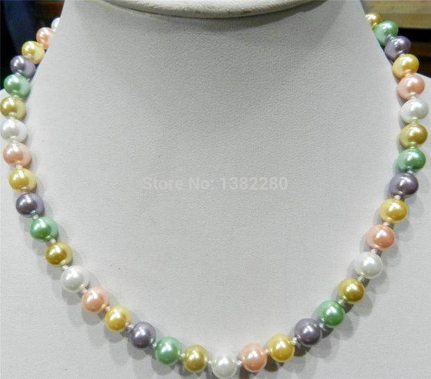 "! 8mm Multicolor South Sea Shell Pearl Necklace 18"" JT6584"
