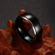 8mm Titanium Rings For Men Women Black Dome Two Tone Glossy High Polish Wedding Band Size 7-12