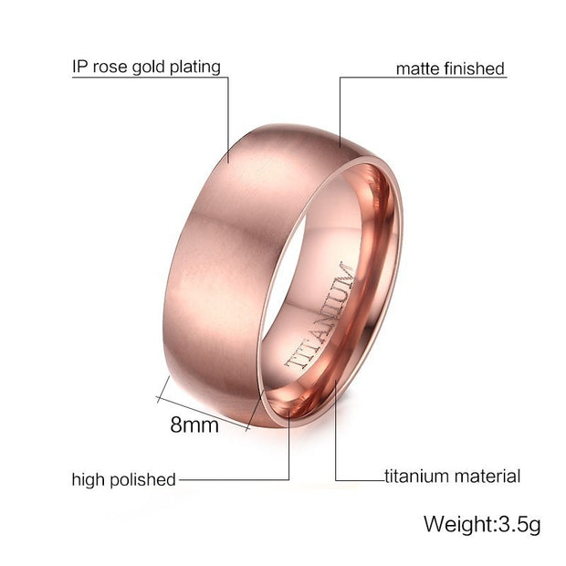 8mm Wide 585 Rose Gold Titanium Rings For Men Wedding Band Ring Pipe Cut Brushed Finish