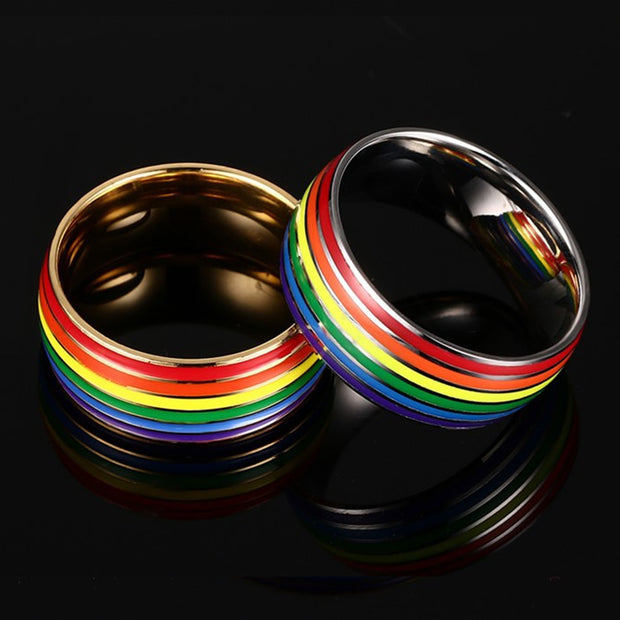 8mm Width Stainless Steel Rainbow Love Ring With 2 Colors