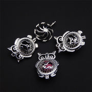 8pcs Rhodium Plated Owl Cage Jewelry Making Supplies Copper Beads Cage Pendant Essential Oil Diffuser Trendy Locket Gift