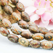 8x12mm Natural Tibetan Dzi Beads Round DIY Loose Natural Stone Fashion Jewelry Making Lucky Stone Ornaments 15inch Accessories