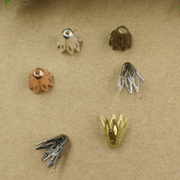 9*10mm 200pcs 3D Filigree Flower Leaves Charms/Vintage Pendant Copper With Antique Bronze/Silver/Gold/Black 6 Colors