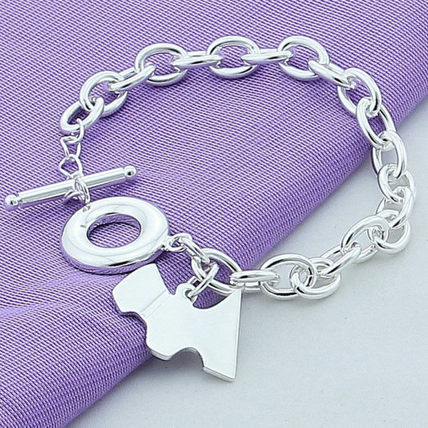 925 Silver Dogs Bracelets For Women Men Christmas Jewelry Gifts