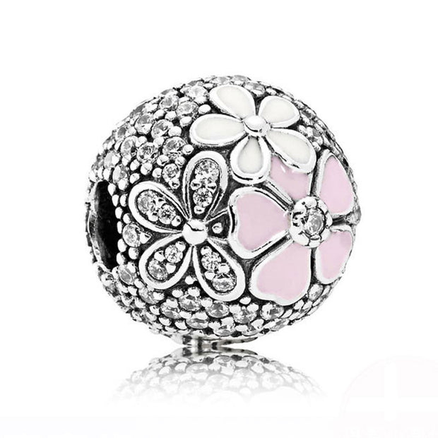 925 Silver Enamel Cherry Love Clip Bead Charm Fit Pandora Bracelet Bangle Daisies Flower Stopper Poetic Blooms Swirl Serpentine
