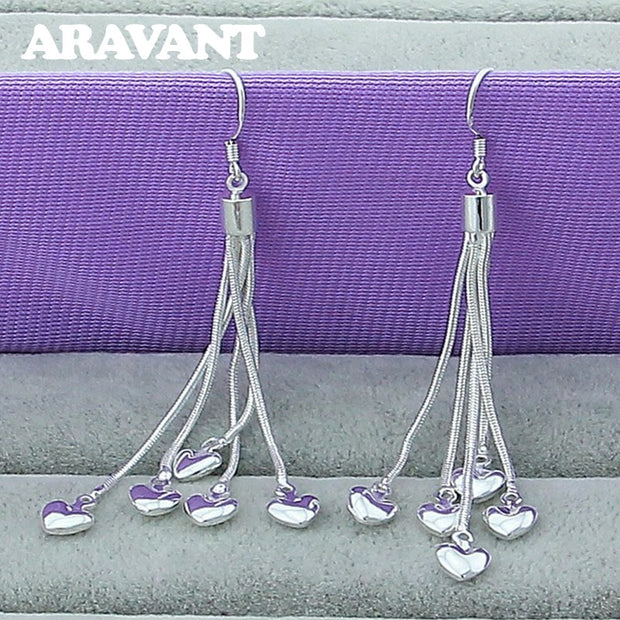 925 Silver Jewelry Five Chains With Heart Drop Earrings For Women Wedding Fashion Romantic Jewelry
