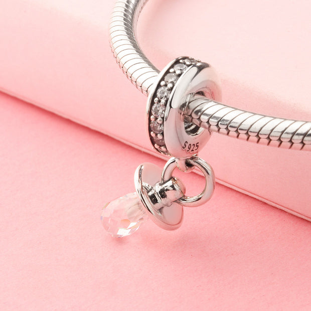 925 Sterling Silver Bead Charm Cute Pacifier Dangle Pave Crystal Pendant Bead Fit Pandora Bracelet DIY Jewelry