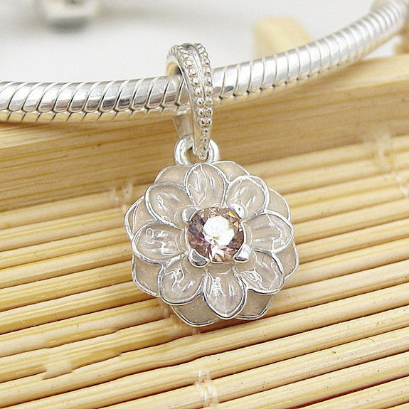 44356d4c5 925 Sterling Silver Bead Charm Enamel Blooming Dahlia Pave Crystal Pen