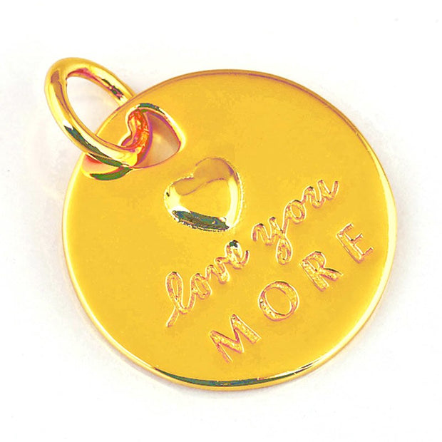 79aee8984 925 Sterling Silver Bead Charm Gold Color Love Statement Pendant Love You  More Necklace Pendant Fit
