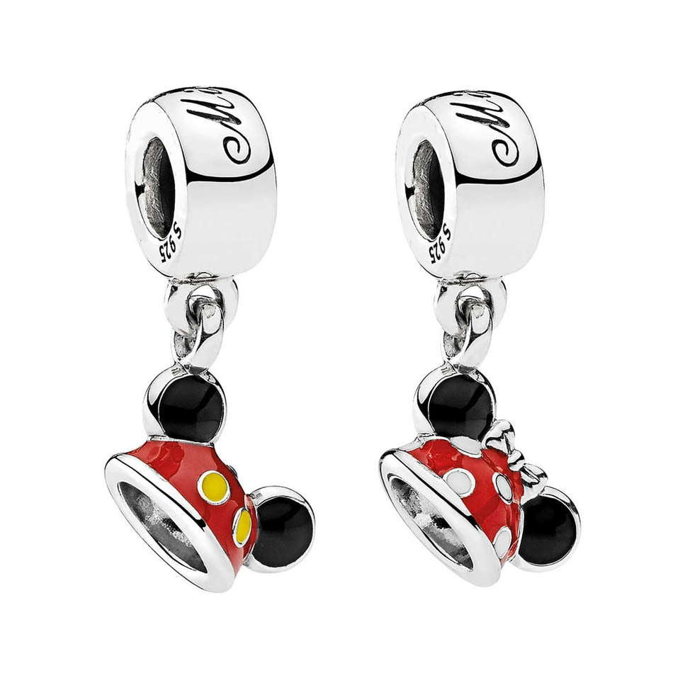 92d515c6a1b 925 Sterling Silver Bead Mickey Minnie Mouse Ear Hat Dangle Charm Fit