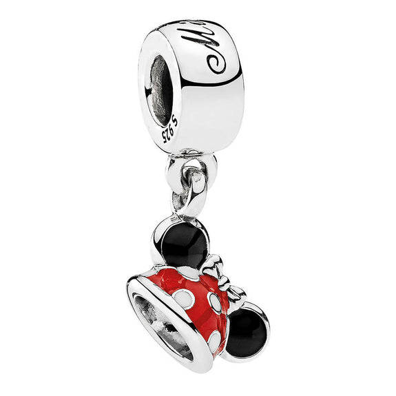 a12a7bf3f91 925 Sterling Silver Bead Mickey Minnie Mouse Ear Hat Dangle Charm Fit  Pandora Bracelet   Bangle DIY Jewelry Red Enamel Pendant