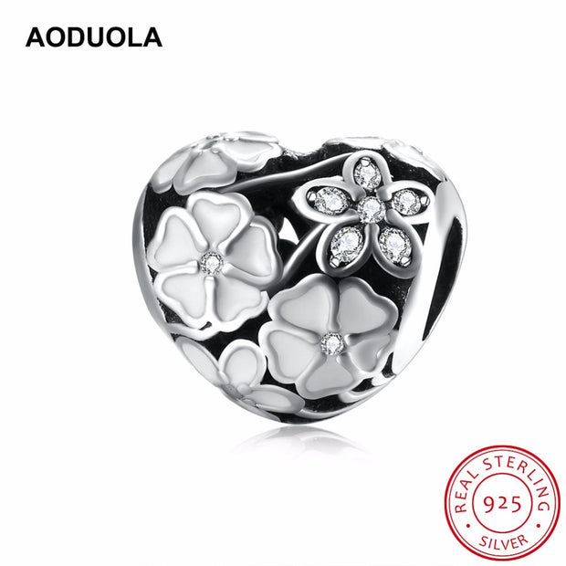 925 Sterling Silver Beads Poetic Blooms White Enamels Clear CZ Bead Big Hole DIY Original Charm Fit For Pandora Charms Bracelet