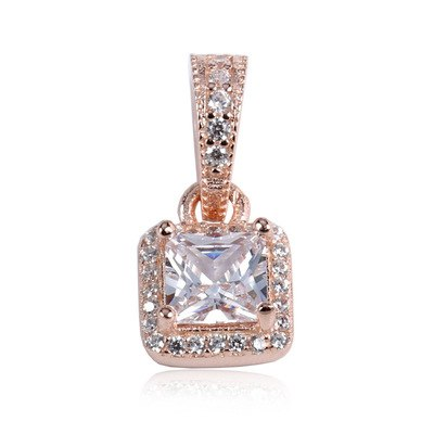 925 Sterling Silver Sparkling Square Long Pendant Necklace Rose Gold Clear CZ Women Pendant Charm & Necklaces Jewelry