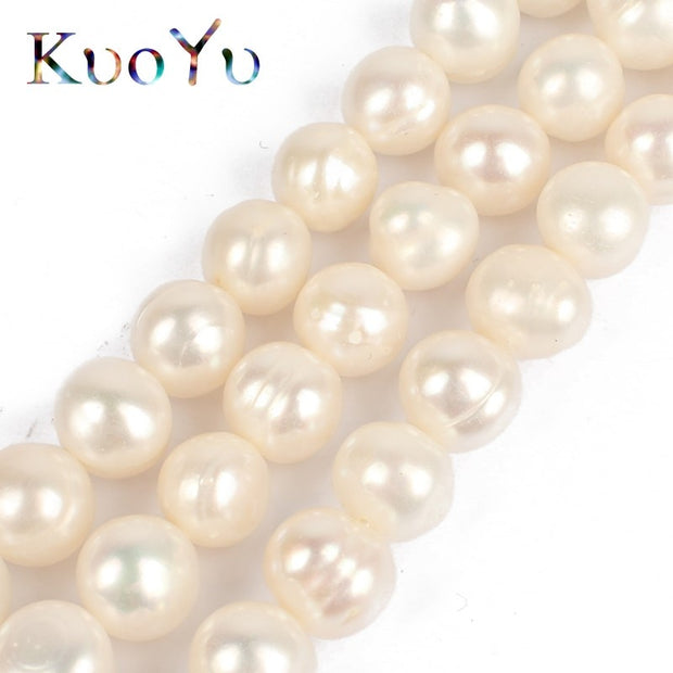 """Natural White Round Freshwater Pearls Gemstone Beads for Jewelry Making 15/"""""""