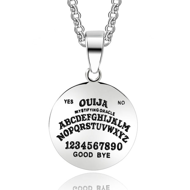 ABAICER 1pcs 316L Stainless Steel Pendant Ouija Board Planchette Necklace 24 Inch Chain Ouija Board Pendant Jewelry 2222