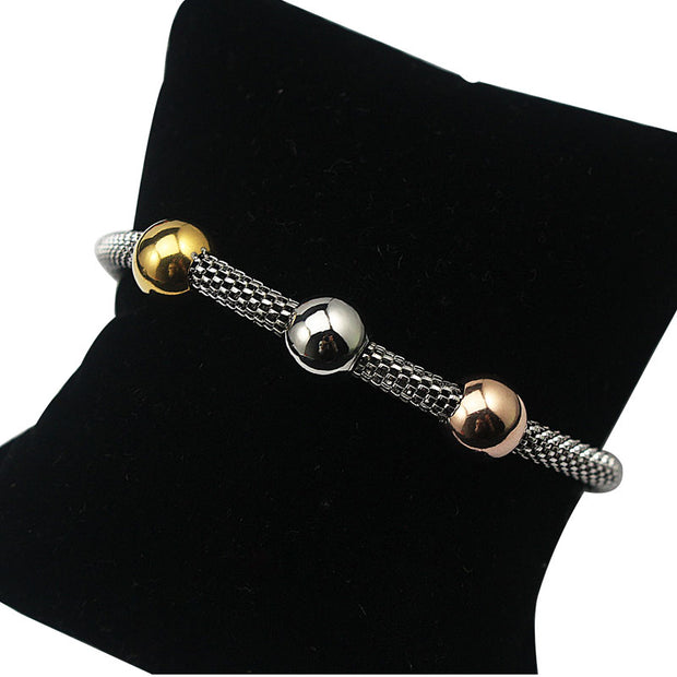 AMYYAN Silver Color Charm Bracelet Pulseira With Gold Color Beads Mesh Chain Bracelet For Women Jewelry With Magnetic Clasp