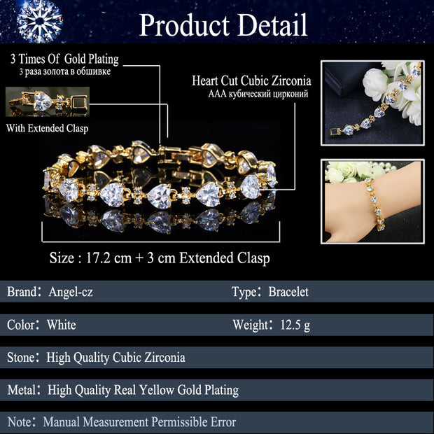 ANGELCZ Brand Yellow Gold Color Jewelry Luxury Heart Cubic Zirconia Crystal Women Charm Bracelet For Ladies Birthday Gifts AB088
