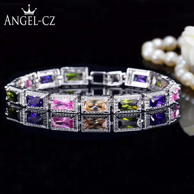 ANGELCZ Women Summer Fashion Rectangle Multi Color Cubic Zirconia Silvery Tennis Bracelet For Ladies Holiday Jewelry Gift AB110