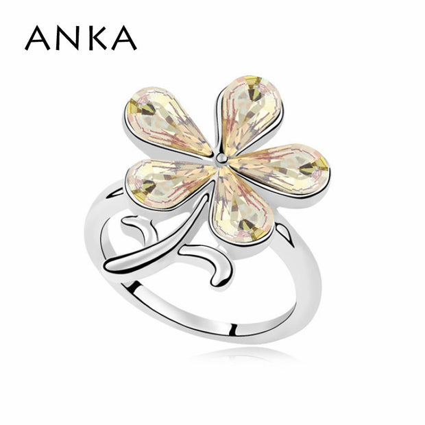 ANKA New Sale Bridal Sets Trendy Sterling Rings Flower Crystal Finger Ring Wholesale Crystals From Austria #99979