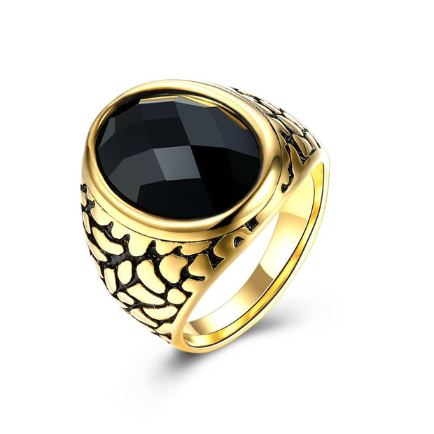 ARUEL European Retro Mens Big Oval Red Black Glass Stone Gold Color Rings Classic Fashion Wedding Women Jewelry For Father Gift