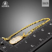 AZORA High Quality Gold Color Chain Necklace For Women White Resin Female Pendant Necklaces Wedding Party Bridal Jewelry TN0216