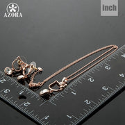 AZORA Lovely Cat Rose Gold Color Clear Stellux Austrian Crystal Drop Earrings And Necklace Set TG0046