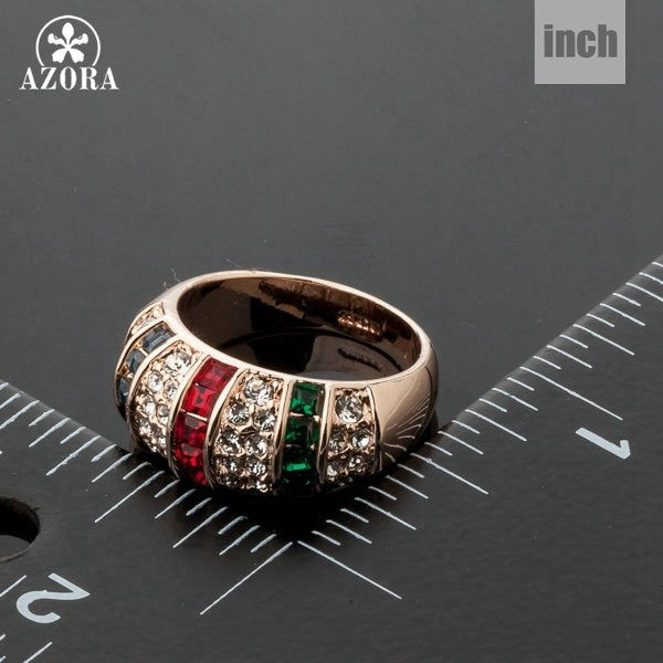 AZORA Stylish New Design Rose Gold Color Colorful Austrian Crystal Finger Ring TR0100