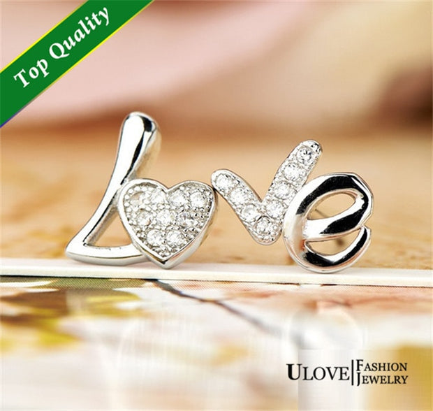 Accessories 2014 Sterling Sliver Jewelry Earrings Ear Studs Love Studs Cute Earrings Stud Earring Gift For Girlfriend E2014