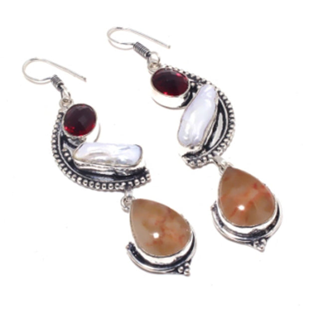 Agates , Silver Overlay On Copper Earrings ,79 Mm , E3719