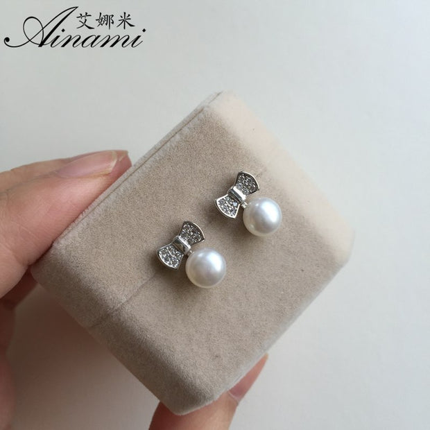 [Ainami] Classic Style Bowknot Silver Earrings For Women/Girl Party Jewelry 7-8mm Size Freshwater Pearl Earrings Freeshipping