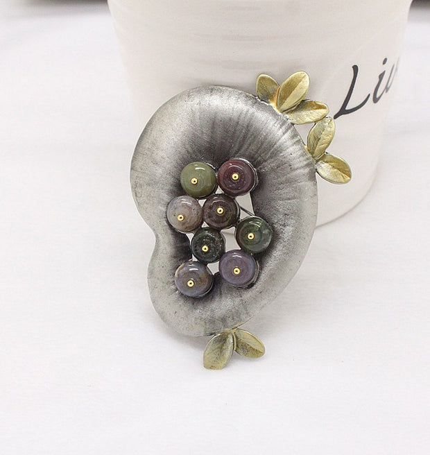 Ajojewel Pea Shaped Stone Brooches For Women Wholesale Fashion Personality Accessories Vintage