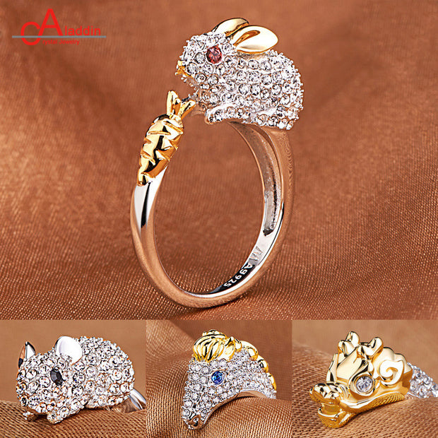 Aladdin Silver Plating Ring Open Animal Zircon Golden Jewelry Engagement Rings Dragon Snake Rabbit Men Women's Valentine's Gift