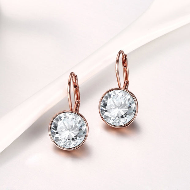 Almei Luxury Stud Earrings Aretes Silver Color Crystal For Womens Girl Gift Evening Earring Korean Jewelry Accessories E748