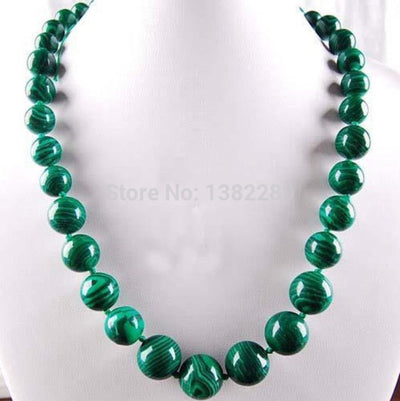 "! Amazing 6-14mm Green Gorgouese Malachite Chalcedony Our Round Beads Necklace 18"" JT5086"