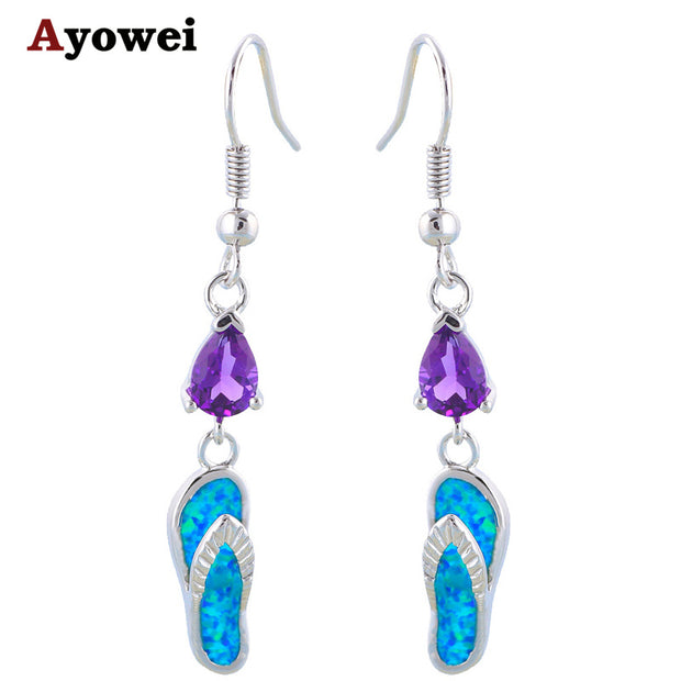 Amazing Gifts Cute Shoes Style Wholesale Retail Crystal Blue Fire Opal Silver Stamped Drop Earrings Fashion Jewelry OE249A