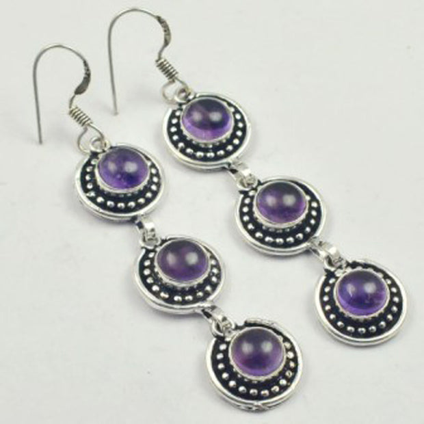 Amethysts Earrings Silver Overlay Over Copper, USA Size 75mm , E3433