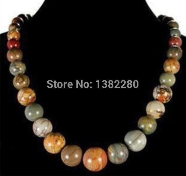 "! Among The 6-14mm Multicolor Picasso Chalcedony Round Beads Necklace 17.5"" JT5108"