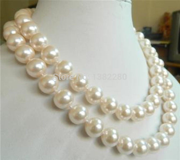 "! Among The White Sea Shell Pearl Charming 10mm Necklace 35 "" JT5027"