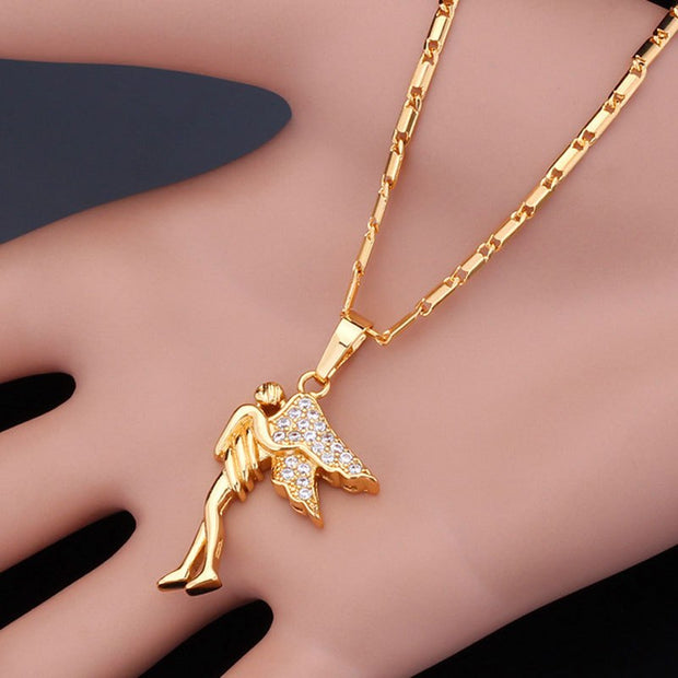 Angel Wings Necklace Women Lucky Item Yellow Gold Color AAA+ Cubic Zirconia Jewelry Fashion Vintage Necklaces & Pendants P304