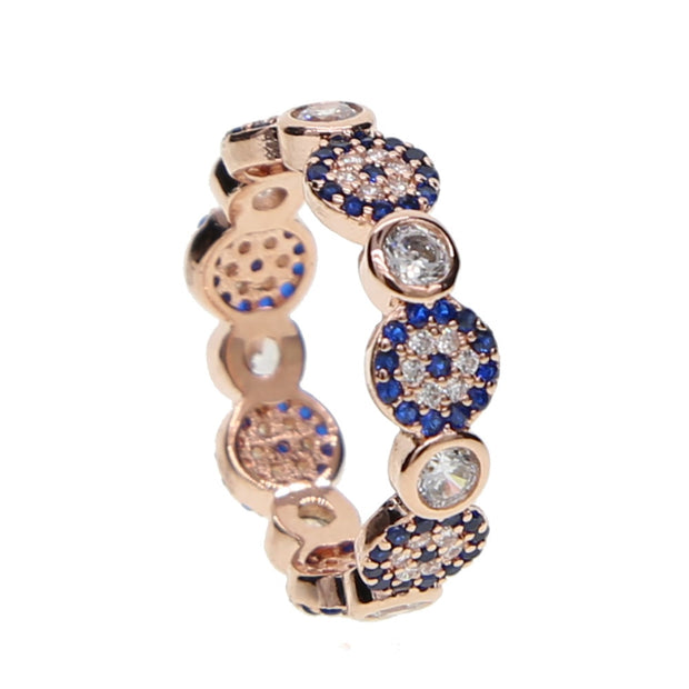 Anillos Real Women 2019 New Delicate Rose Color Jewelry Small Midi Turkish Evil Eye Micro Pave Cz Zirconia Simple Dainty Ring